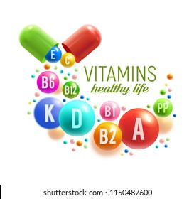 Vitamin for healthy life poster. Colorful pill and ball of multivitamin spilled out of vitamin capsule for natural food supplement advertising, pharmacy promotion banner design