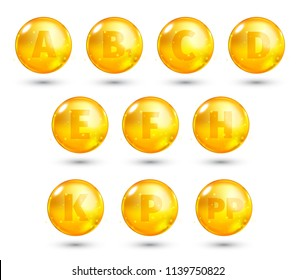 Vitamin. High quality gold oil capsule. Vector illustration
