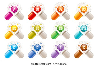 Vitamin icons. Capsule pill supplement with a, b, b1, b2, b3, b5, b6, b9, b12, c, d, e, k vector vitamins. 3d medical symbol, multi complex for health. Color ball tablet illustration. Food supply set
