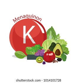 Vitamin K (menaquinone). The composition of natural organic vegetables and fruits, with the highest content of vitamin K. White background