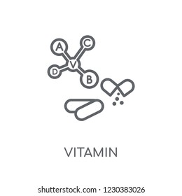 vitamin linear icon. Modern outline vitamin logo concept on white background from Health and Medical collection. Suitable for use on web apps, mobile apps and print media.