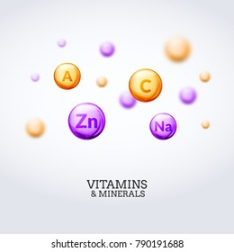Vitamin mineral colorful elements background. Health care vitamins and minerals concept illustration.