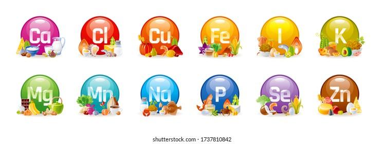 Vitamin Mineral nutrition set. Vector healthy food supplement icons. Health diet infographic chart. Iron, Calcium, Magnesium, Zinc, Potassium, Iodine, Phosphorus, Copper, Sodium, Manganese, Selenium