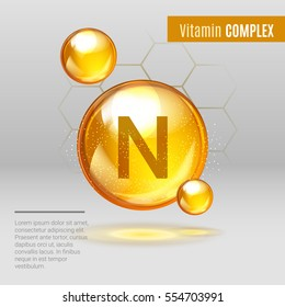 Vitamin N gold shining pill capcule icon . Vitamin complex with Chemical formula, lipoic acid. Shining golden substance drop. Meds for heath, beauty ads. Vector illustration