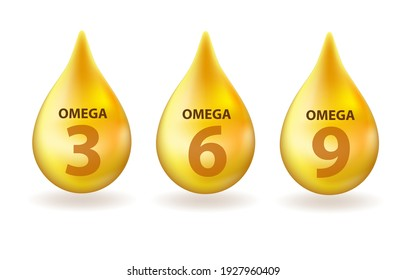 Vitamin Omega 3, 6, 9 drop realistic 3d style. Fish fat. Healthy lifestyle vector concept