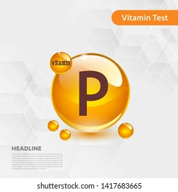 Vitamin P gold shining pill capcule icon, cholecalciferol. golden Vitamin complex with Chemical formula substance drop. Medical for heath Vector illustration