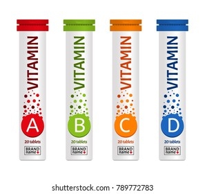 Vitamin package template design, attractive packaging set with labels. Vector illustration.