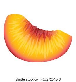 Vitamin piece peach icon. Cartoon of vitamin piece peach vector icon for web design isolated on white background