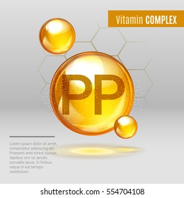Vitamin PP gold shining pill capcule icon . Vitamin complex with Chemical formula, NiacinVitamin B3. Shining golden substance drop. Meds for heath, beauty ads. Vector illustration