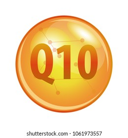 Vitamin Q10 Coenzyme capsule. Vector icon for health and beauty. Gold shining pill.