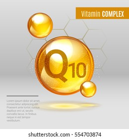 Vitamin Q10 gold shining pill capcule icon . Vitamin complex with Chemical formula, coenzyme Q, ubiquinone. Shining golden substance drop. Meds for heath, beauty ads. Vector illustration