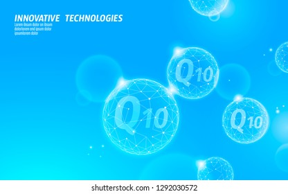 Vitamin Q10 low poly sphere light blue sunny sky. Health supplement skin care anti-aging cosmetics ad complex coenzyme Q ubiquinone. Medicine science banner template vector illustration
