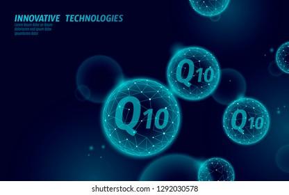 Vitamin Q10 low poly sphere dark blue globe . Health supplement skin care anti-aging cosmetics ad complex coenzyme Q ubiquinone. Medicine science vector illustration