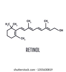 Vitamin A retinol molecule. Skeletal formula .Retinol, vitamin A. Essential for vision and bone growth, healthy skin and hair