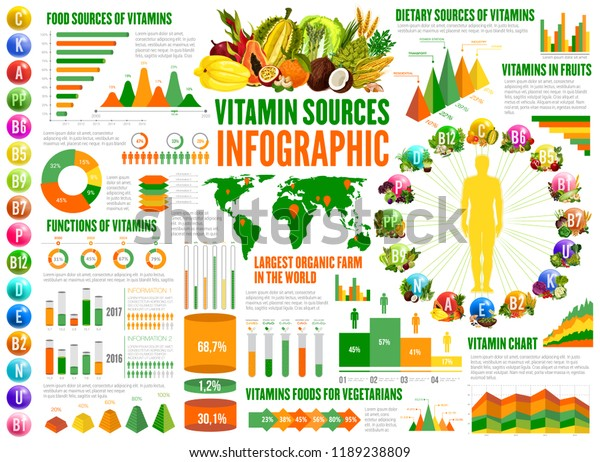 Vitamin Sources Infographics Nutrition Statistical Charts Stock Vector Royalty Free 1189238809
