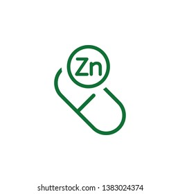 Vitamin Zn green icon. Element of vitamin icon. Thin line icon for website design and development, app development. Premium icon