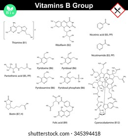 Vitamins of b group, molecular structures, 2d vector chemical formulas, eps 8