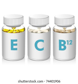 Vitamins E, C, B12 in clear bottles with cap