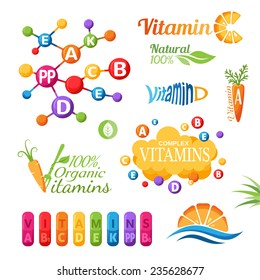 Vitamins emblems, icons and labels set