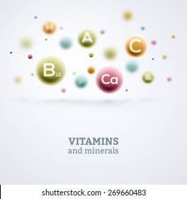 Vitamins and minerals background, eps 10