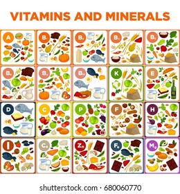Vitamins and minerals big spreadsheet with colorful illustrations