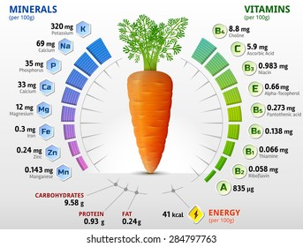 Vitamins and minerals of carrot tuber. Infographics about nutrients in carrot. Qualitative vector illustration about vitamins, carrot, vegetables, health food, nutrients, diet, etc