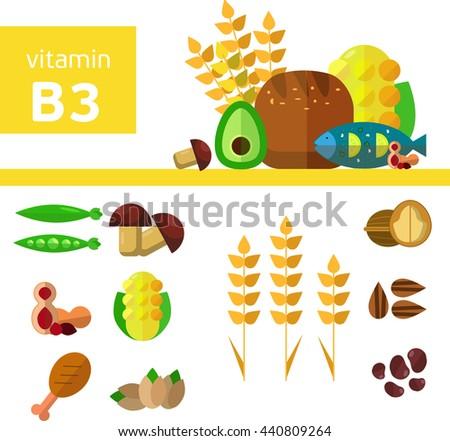 Vitamins Minerals Foods Illustration Vector Set Stock Vector
