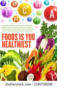 Vitamins and minerals, healthy food. Vector posters of multivitamins in fruits, salad vegetables and nuts of avocado, papaya or coconut and cabbage, radish or chicory and corn with pomegranate