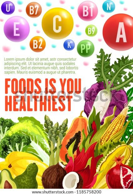 Vitamins Minerals Healthy Food Vector Posters Stock Vector (Royalty