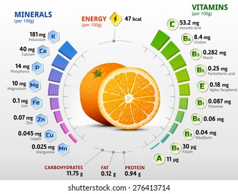 Vitamins and minerals of orange fruit. Infographics about nutrients in orange. Qualitative vector illustration about orange, vitamins, fruits, health food, nutrients, diet, etc