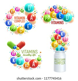Vitamins and multivitamin complex 3D pills, capsules and plastic bottles for healthy life and dietary supplements package design. Vector vitamins and mineral pills splash for pharmacy advertisement