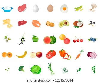Vitamins vector. Essential vitamins in food. Healthy nutrition for human body
