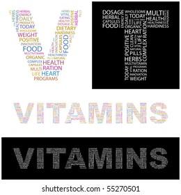 VITAMINS. Word collage. Vector illustration.
