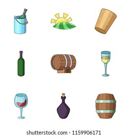 Viticulture icons set. Cartoon set of 9 viticulture vector icons for web isolated on white background