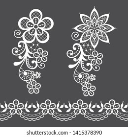 Vitnage lace half single vector pattern set - floral lace design collection, retro openwork background.  Retro detailed ornaments - wedding or Valentine's Day lace decorations, greeting card