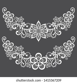 Vitnahe lace half wreath single vector pattern set - floral lace design collection, retro openwork background. Retro detailed ornaments - wedding or Valentine's Day lace decorations, greeting card