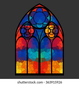 Vitrage window vector illustration / Stained glass gothic window
