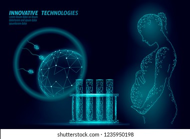 In Vitro fertilization 3D low poly. Pregnant woman medicine health care pregnancy healthy business concept. Polygonal girl holding big belly. Medical center birth help IVF modern concept