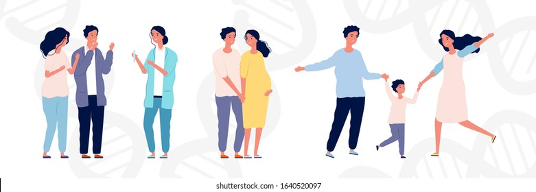 In vitro fertilization concept. Young couple and doctor. Maternity and parenthood, happy pregnant woman with man. Parents with child vector illustration