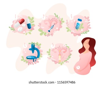 In vitro fertilization step-by-step method, the stages of artificial insemination IVF, pregnant woman