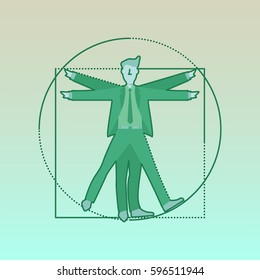Vitruvian Buisness Man. Flat design vector illustration
