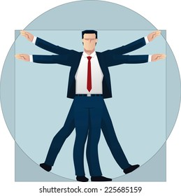 Vitruvian Business Man vector illustration.