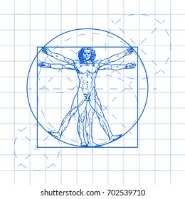 The Vitruvian man blueprint. Called Leonardo's man. Detailed vector drawing based on the artwork by Leonardo da Vinci c. 1490.