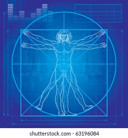 The Vitruvian man (Blueprint version). So-called Leonardo's man. Detailed vector drawing based on the artwork by Leonardo da Vinci c. 1490.