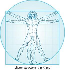 The Vitruvian man, or so called Leonardo da Vinci man. Detailed drawing. Blue version.