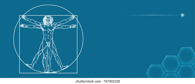 The Vitruvian man. Called Leonardo's man. Detailed vector drawing based on the artwork by Leonardo da Vinci c. 1490.