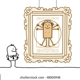 """Vitruvian Man"" cartoon"