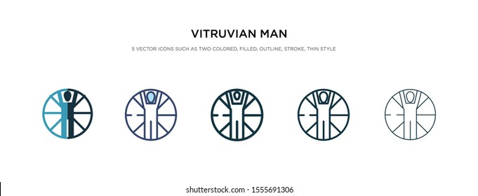 vitruvian man icon in different style vector illustration. two colored and black vitruvian man vector icons designed in filled, outline, line and stroke style can be used for web, mobile, ui
