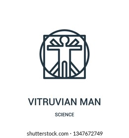 vitruvian man icon vector from science collection. Thin line vitruvian man outline icon vector illustration. Linear symbol for use on web and mobile apps, logo, print media.