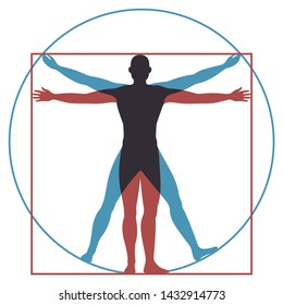 Vitruvian man. Leonardo da vinci human body perfect anatomy proportions in circle and square. Vector renaissance health men silhouette